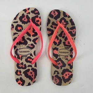 Havaianas Animal Print Neon Pink Strap Sandals